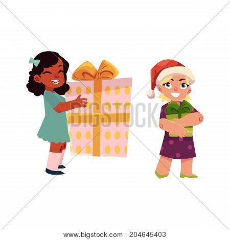 vector kids with present gift set. Boy in christmas hat, girl with gift smiling. Flat illustration on a white background. Christmas, new year birthday gift concept