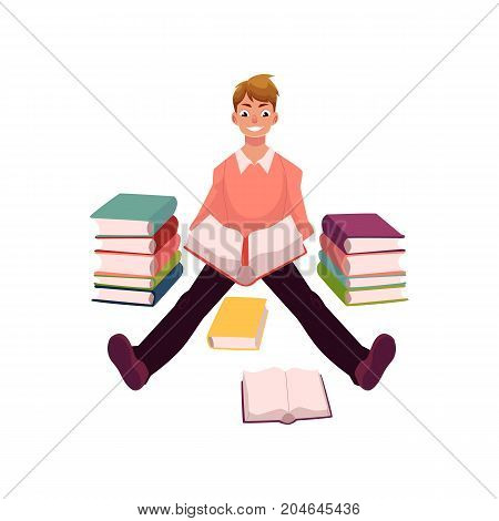 Young man reading sitting on the floor among many books, cartoon vector illustration isolated on white background. Cartoon man, guy, student reading a book, studying, sitting on the floor