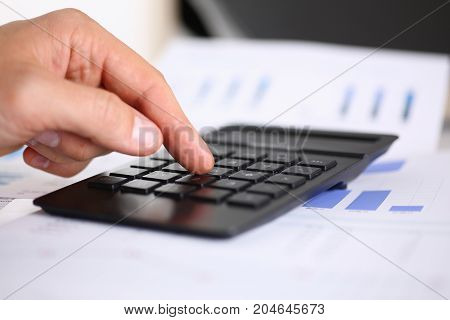 Black Calculator And Financial Statistics On Infographics