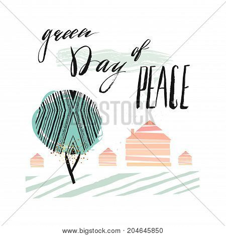 International Day of Peace Poster Templates with green abstract tree, houses and handwritten lettering phase Green day of peace isolated on white background.