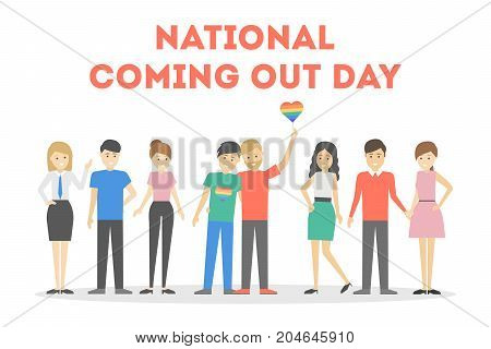 National coming out day. People with rainbow flags.