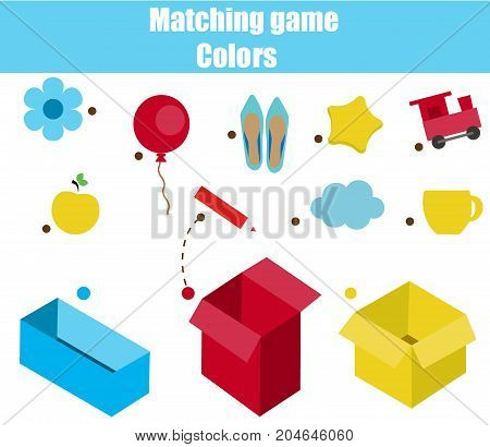 Educational children game. Matching game worksheet for kids. Match by color. Sorting objects for toddlers. Learning colors