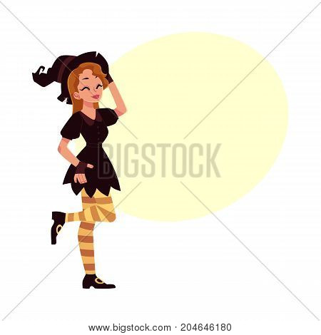 Pretty girl, woman in pointed hat and witch Halloween party costume, cartoon vector illustration with space for text. Woman, girl dressed as witch, wizard, Halloween party costume