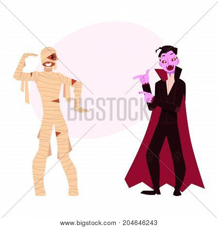 Young man dressed in Halloween party costumes - mummy and vampire, dracula, cartoon vector illustration with space for text. Two men wearing Hallowen party costumes - mummy and dracula