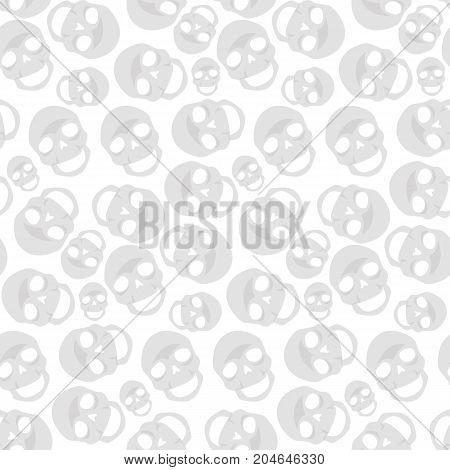 Vector flat background. Seamless pattern with skulls.