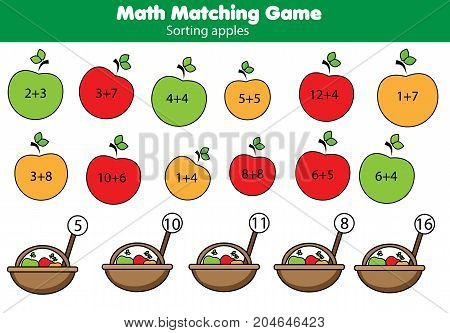 Math educational game for children. Matching mathematics activity. Counting game with fruit for kids