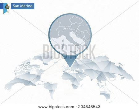 Abstract Rounded World Map With Pinned Detailed San Marino Map.