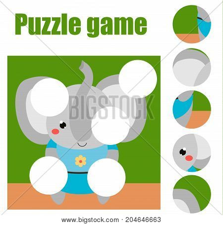Puzzle for toddlers. Matching children educational game. Match pieces and complete the picture. Activity for pre school years kids