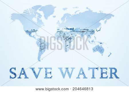 Illustration of double exposure of blue water and world map. Save water concept background