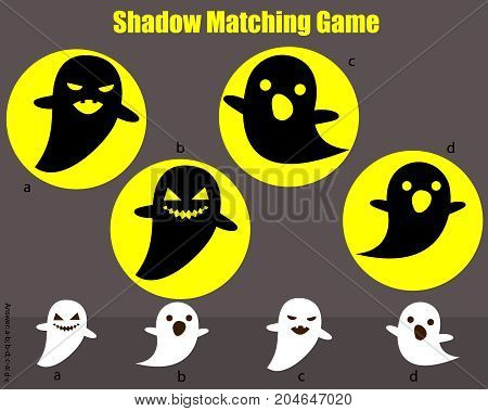 Shadow matching game for children. Find the right shadow. Activity for preschool kids with spooky ghosts. Halloween theme