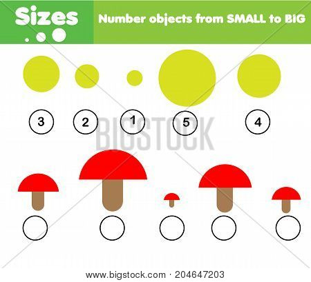 Children educational game. Learning sizes from big to small