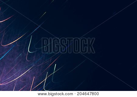 Abstract background of colorful bends in motion on black. Bokeh of defocused curves, blurred neon rainbow leds, festive ofr business backdrop of serpentine, holidays and celebrations