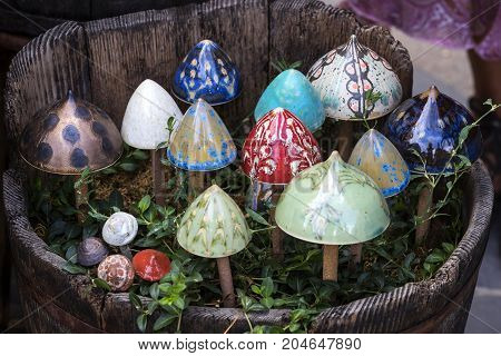 Traditional Hungarian ceramics are ceramic mushrooms for decorating pots for domestic plants.