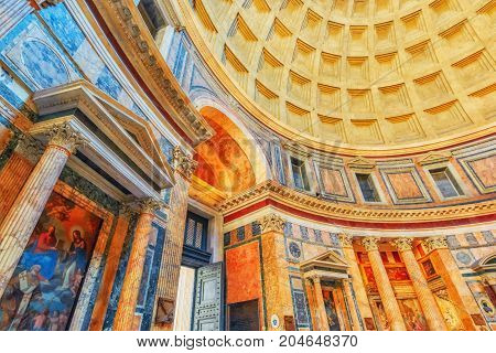 Rome, Italy - May 09, 2017 : Inside  Interior Of The Pantheon, Is A Former Roman Temple, Now A Churc