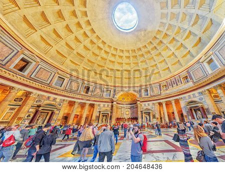 Rome, Italy - May 09, 2017 : Inside Interior Of The Pantheon, Is A Former Roman Temple, Now A Church