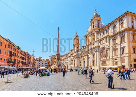 Rome, Italy - May 09, 2017 : Piazza Navona  Is A Square In Rome, Italy. It Is Built On The Site Of T