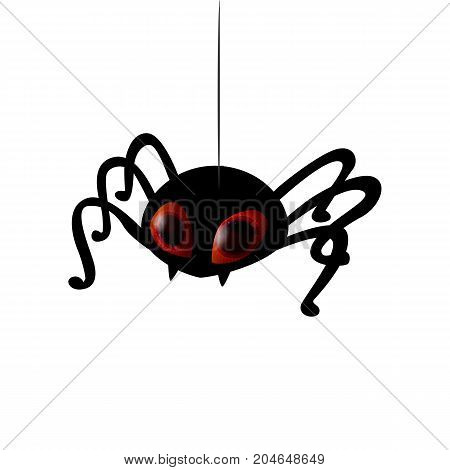 Funny spider cartoon for you design. Vector illustration. Realistic eyes on black silhouette. Character concept.