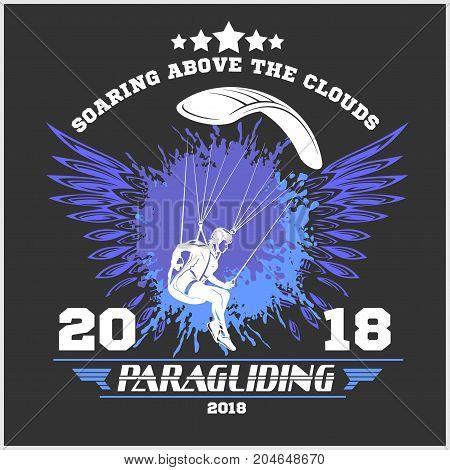 Paragliding. Sport emblem and illustrations - vector set.