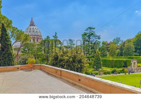 Vatican, Vatican- May 09, 2017 : Enclosed Court Of The Vatican, From The Window Of The Vatican Galle