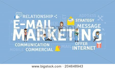 E-mail marketing concept illustration. Idea of communication, business and internet.