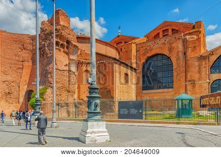 Rome, Italy - May 10, 2017 : Basilica Of Santa Maria Delia - Angeli - E - Dei - Martiri (santa Maria