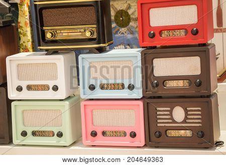 Set Of Retro Styled Old Radios