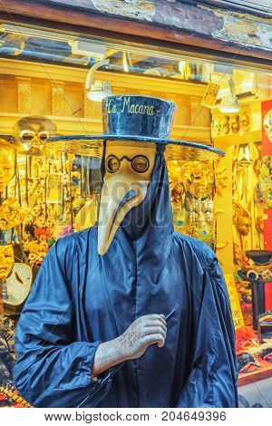 Venice, Italy - May 11, 2017 : Plague Doctor Costume Was A Medical Physician Who Treated Victims Of