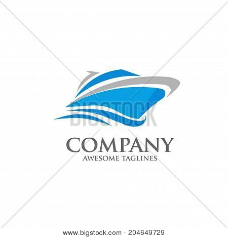 strong modern vector yacht, speed boat , ship logo concept