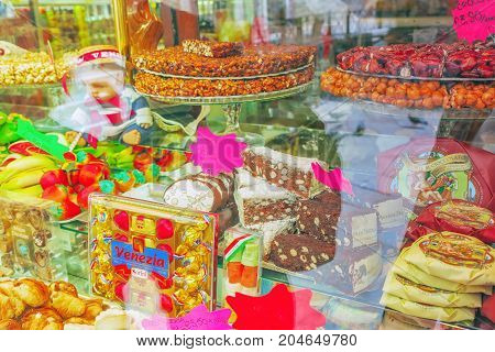 Venice, Italy - May 12, 2017 : Delicious And Fresh Sweets In The Shop Window. Italy.