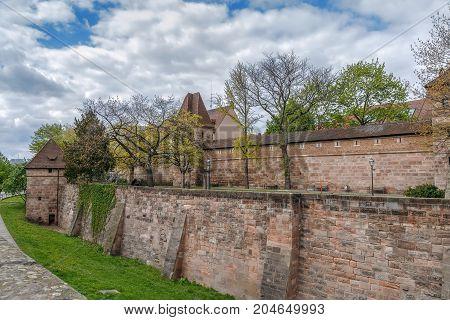 City walls of Nuremberg are the defensive mechanism surrounding the city of Nuremberg Germany