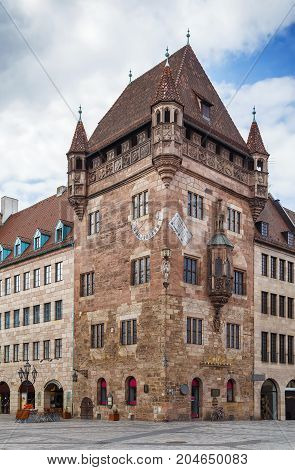 Nassau House is residential tower built in the Romanesque - Gothic style Nuremberg Germany