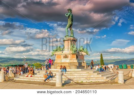 Florence, Italy - May 13, 2017 : Replica Of The Statue Of Mikeladnjeldo - David On Square Of Michela