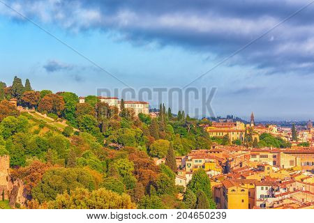 Beautiful Landscape Above, Panorama On Historical View Gardens Of Bardini (giardino Bardini) From  P