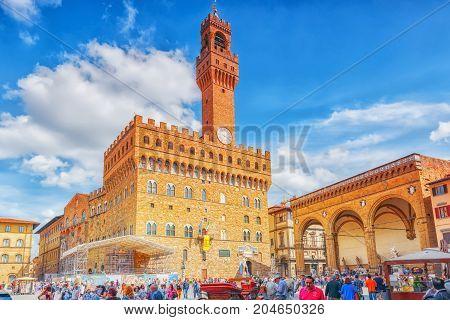 Florence, Italy- May 14, 2017: Palace Vecchio (palazzo Vecchio) In Piazza Della Signoria, Built In 1