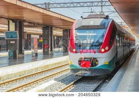 Rome, Italy - May 15, 2017 : Modern High-speed Passenger Train Stand On The Roma Termini Railways St