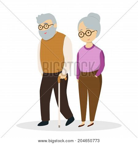 Idsolated cute elderly couple on white background.
