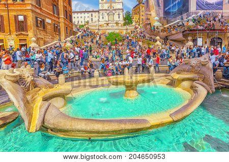 Rome, Italy - May 10, 2017 :   Fountain Barkasca (fontana Della Barcaccia) On Spanish Steps Square (