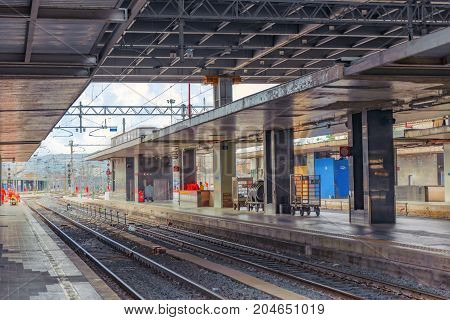 Rome , Italy - May 11, 2017 : Passenger Train, People On Rome Railways Stantion - Roma Termini. Ital