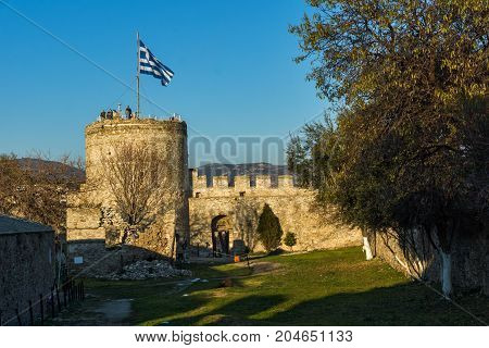 Sunset view of Ruins of fortress in Kavala, East Macedonia and Thrace, Greece