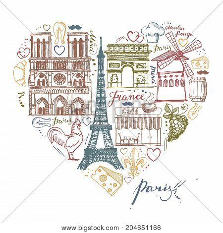 Sketches traditional symbols of the French architecture, culture, kitchen in the shape of a heart