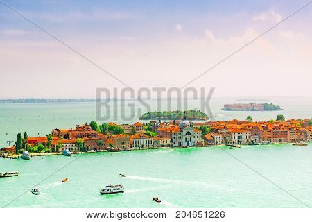 A View Of The Island Of Giudecca, Located Opposite Mail Island Venice. Italy.