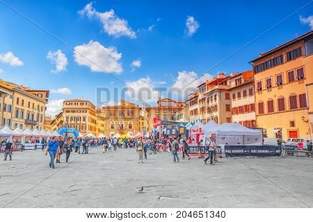 Florence, Italy- May 13, 2017:  Holy Cross Square In  Florence (piazza Di Santa Croce) The City Of T