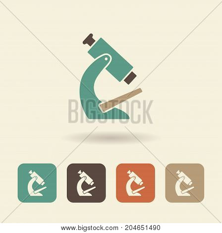 Icon microscope with a shadow. Vector flat logo