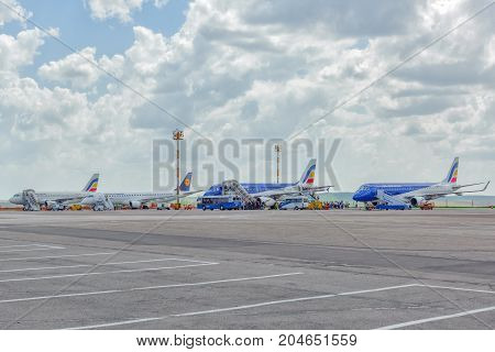 Chisinau, Moldova - May 07,2017 : Airfield With Aircraft In International Airport  City Of Chisinau