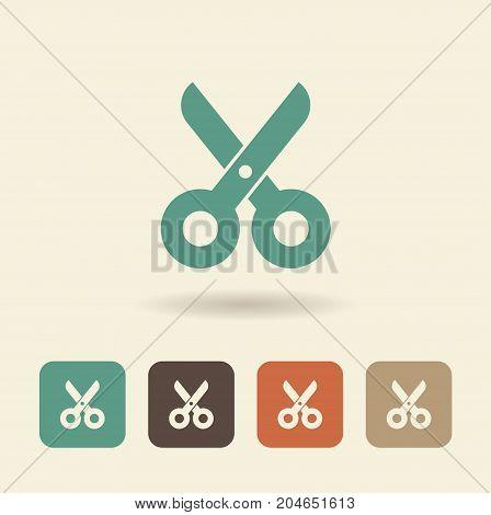 Icon scissors. Vector flat logo symbol cutting