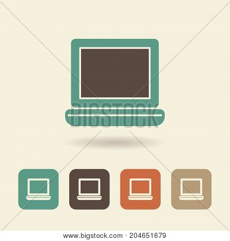 Flat icon of an open laptop. Simple vector logo