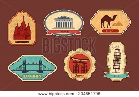 Stickers of travel. Moscow Greece Egypt, London Japan Italy