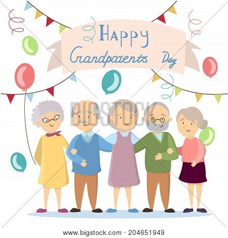 Happy grandparents day. Elderly people with decoration.