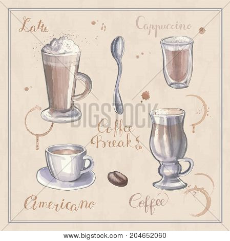 Sketches of coffee. Cappuccino, latte, Americano and stains from cups