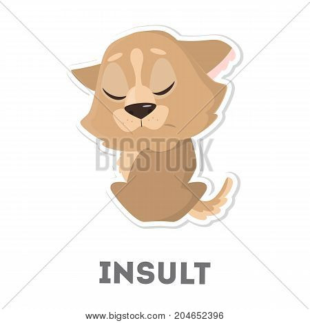 Isolated insulted dog on white background. Funny cartoon animal.